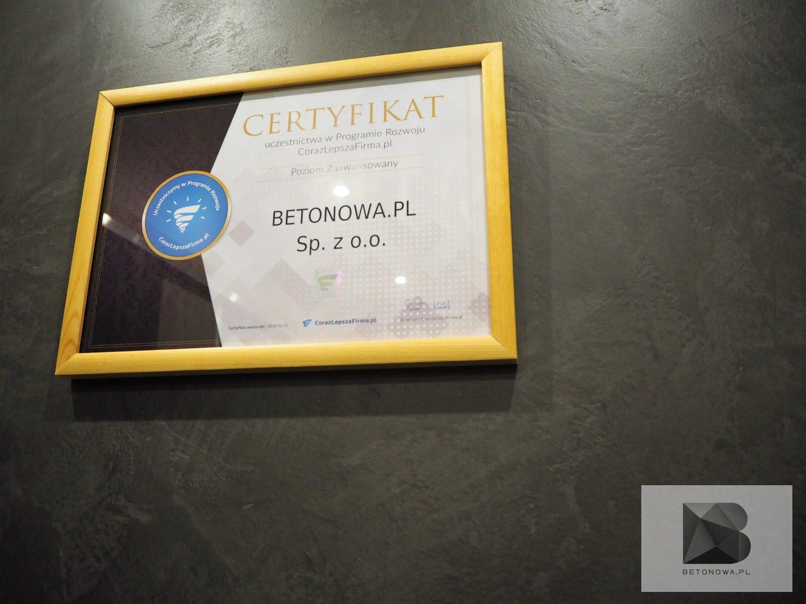 Certyfikat Coraz Lepsza Firma BetonowaPL Sp z oo