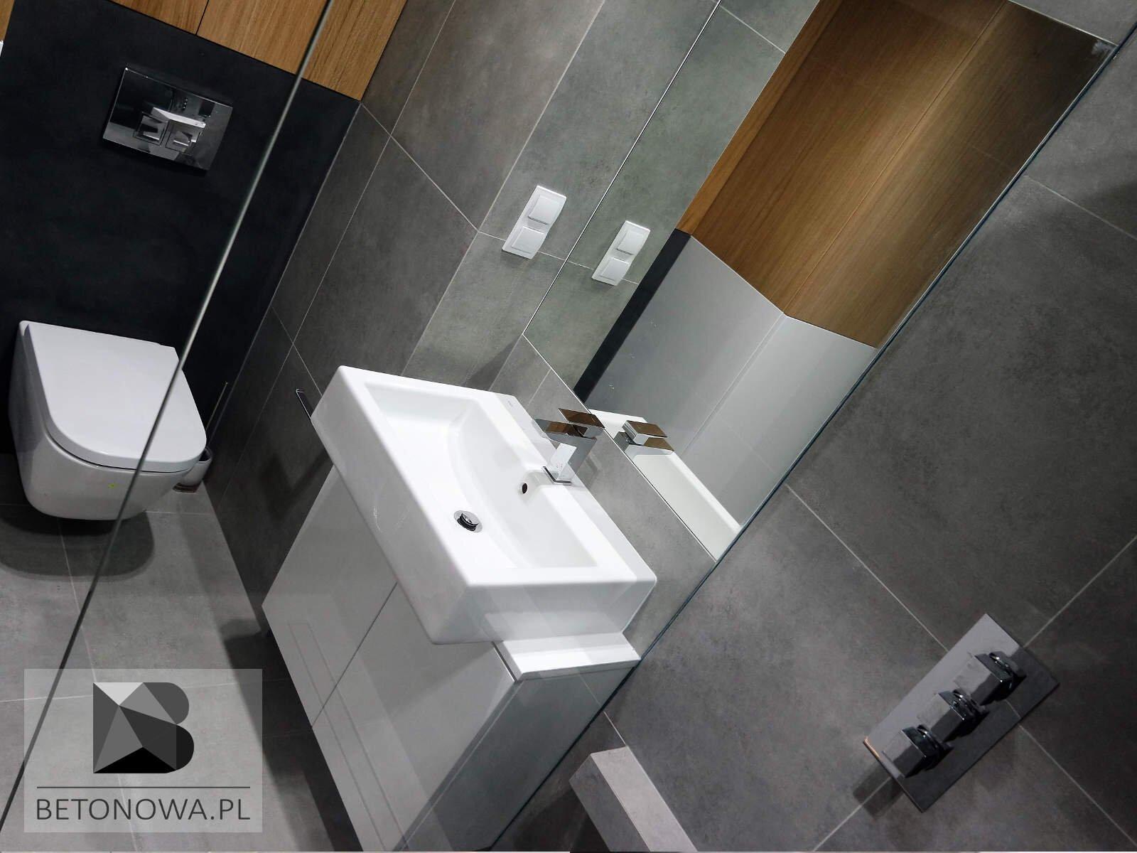 łazienki Betonowe Plytki Umywalki Sciany I Posadzki